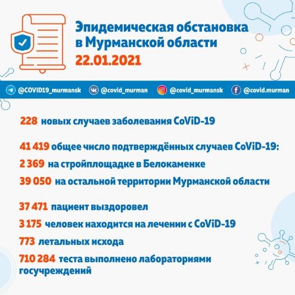 За сутки в Мурманской области 228 зараженных CoViD-19