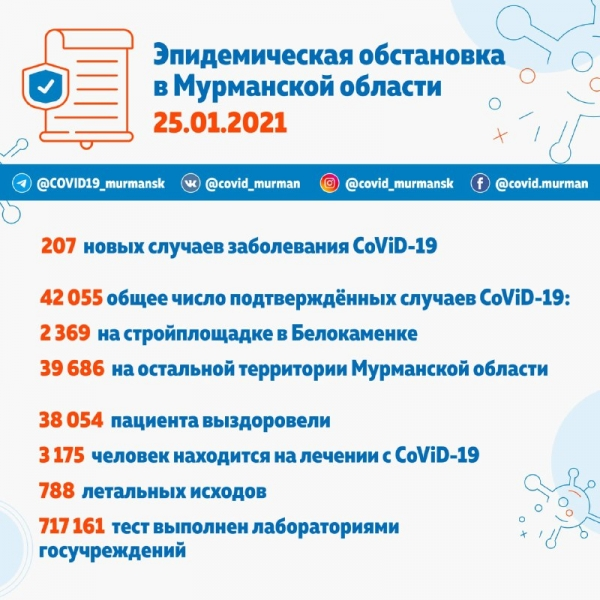 42 055 зараженных CoViD-19 в Мурманской области