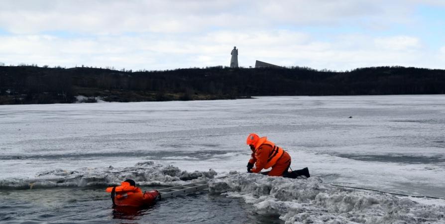 В Мурманске отрабатывали технику спасения провалившегося под лед