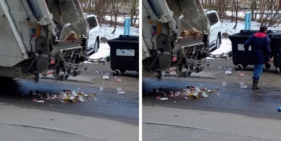 Мурманчане пожаловались на рассыпавшийся мусор после опустошения баков